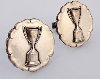 Large Cufflinks Vintage 1950s Trophy Award Round Cuff Links