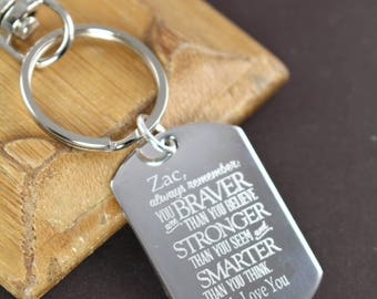 You Are Braver than You Believe Personalized Custom Engraved Inspirational Quote Key Ring