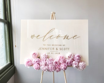 Acrylic Wedding Sign White Plexiglass Wedding Welcome Sign