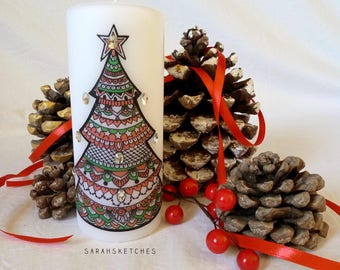 Christmas Candle-Xmas tree, hand decorated