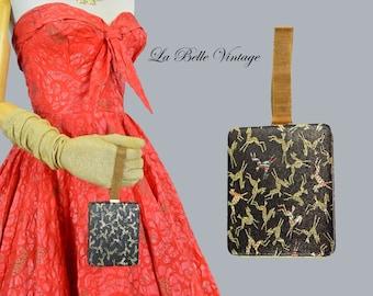 50s Minaudiere Purse Wristlet Vintage Gold Gazelle Embroidery Zell 5th Avenue Nécessaire ~ Comb Lipstick Holder Carry All