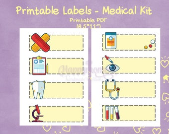 Bullet Journal PRINTABLE Medical stickers | Lab, Pills, Dentist, Appointment doodle icons on yellow labels | Planner stickers, BuJo stickers