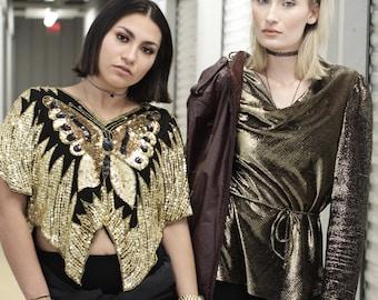 VTG RETRO TOP ϟ Vintage Metallic Gold Loose / Drop Collar Blouse / Shirt