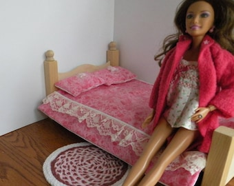 """Barbie Wooden Bedroom Set With Rug  And  Free Bedroom Slippers For 12"""" Doll"""