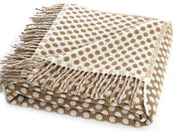 Beige Spotty Throw Blanket, 100 Percent Lambswool, Beige Sofa Throw, Beige Bed Throw, Beige Wool Blankets Throws, Reversible, Free Delivery