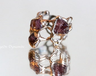 """Raw Garnet Pink Silver """"Jukai"""" Ring/Ready to Ship, One of a Kind Statement Ring/ Rose Silver Garnet Ring/ Handmade Raw Garnet Statement Ring"""
