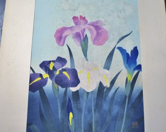 Bakufu Ohno Irises Purple Blue Woodblock Unframed Signed Japanese Asian Mid Century Art B Ohno Panchosporch