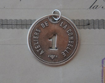 Antique French Silver Number One Medallion Token Pendant