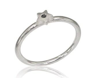 Black Diamond Ring, Black diamond star ring, 2mm starRing, Black Diamond gold Ring, 2mm Bridal Ring, White Gold star ring