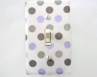 Polka Dots Light Switch Cover - Grey Purple Nursery Decor - Purple Gray Switch Plate