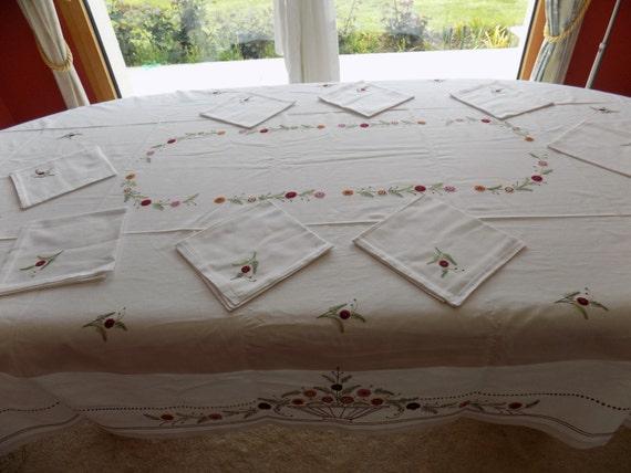 nappe de tablenappe brod e mainnappe blanche fleurienappe 3. Black Bedroom Furniture Sets. Home Design Ideas