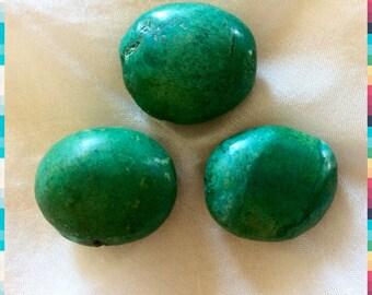 Set of 3 Rolled GREEN TURQUOISE Beads Pony Nugget Potato...Tribal Ethnic Boho Large Big Focal...Genuine Authentic Real Vintage 1960s Era.