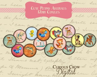 Cute Retro Animals 12mm Circle Rounds Digital Collage Sheet -  INSTANT Download - Bottle cap Pendant Jewelry - Printable Download
