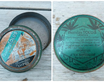 Vintage 1930/1950 French tin box medicine box pharmacy apothecary Pastilles Lotus