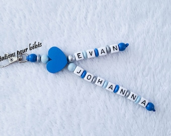 Keychain with wooden beads personalised with the names of your choice