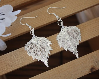 Silver Leaf Earrings, Birch Leaf, Real Leaf Earrings, Small Real Leaf Earrings, Birch, Sterling Silver, Nature, LESM198