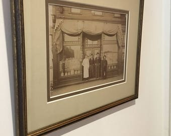 "Sepia Photo of an Irish Immigrant Bar McGrew Bar Irish Pub Professionally Framed 12 1/2"" by 10 1/8"""