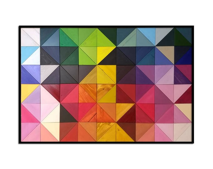 "Modern Wood Wall Art - ""Origami"" - Wood Triangles in Rainbow Colors - 30""x45"" - Wood Wall Art, Wood Wall Sculpture"