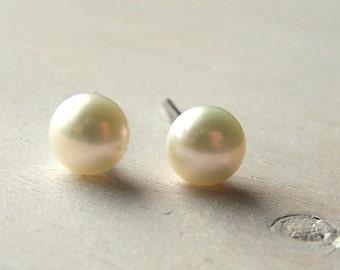 Hypoallergen Ohrringe - reines Titan - Niob-Ohrringe - Süßwasser Perle Ohrringe - Ohrstecker - Perle Ohrstecker