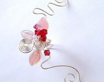 Pink Cherry Blossom Ear Cuff Ear Jacket Climber, No Piercing, Fairy Jewelry, Fantasy Vine Wrap, bridal ear cuff