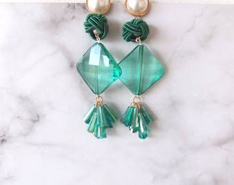 Green Faceted Bead Drop Statement Earrings