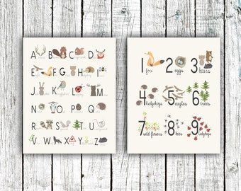 Alphabet and Numbers Woodland Poster Set, Nursery Printable, gender neutral, animals, Digital Download Size 16x20