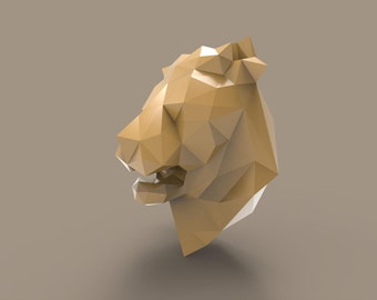 Lion Trophy 3D Papercraft Model - Download PDF Template - DIY Decoration
