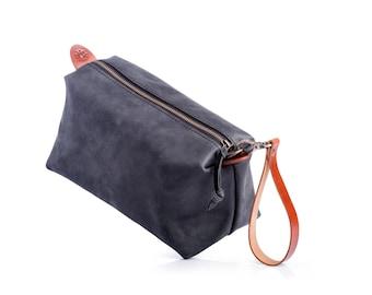 Leather Pouch by Kruk Garage Leather Dopp kit Travel pouch Necessairies bag Toiletry bag Mens bag Travel kit Groomsmen bag