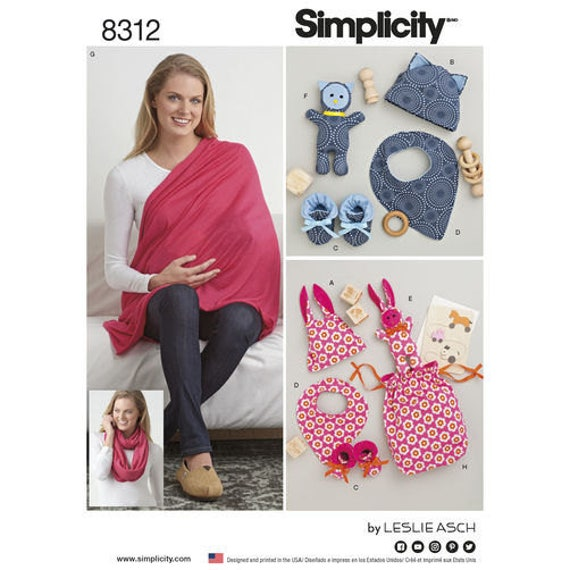 Sewing Pattern for Baby Gifts and Nursing Shawl, Simplicity 8312 ...