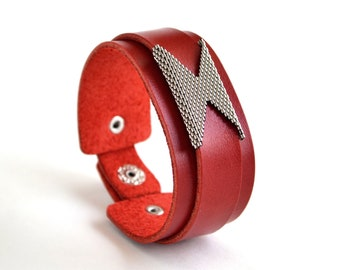 Red leather bracelet with beads Women's leather cuff bracelet Leather cuff bracelet with name for women Red leather wristband