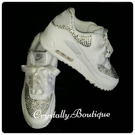 Kids Beautiful Nike Air max 90 Customised with Swarovski & Rhinestone  Crystals White size 10-2UK
