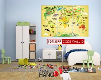 Kids World Map, Nursery wall decor, Animal world map, Art decor, Kids map, Kids room decor, Nursery world map, Kids wall art, World map kids