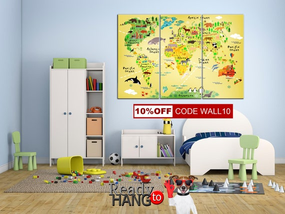 Kids World Map Nursery wall decor Animal world map Art