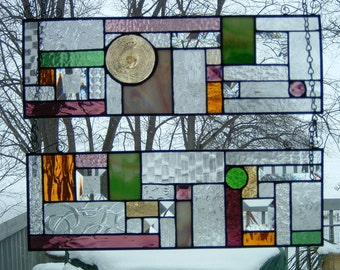 Stained Glass Custom Panels Abstract Geometric Clear Textured Glass Bevels Prairie Sun Catcher