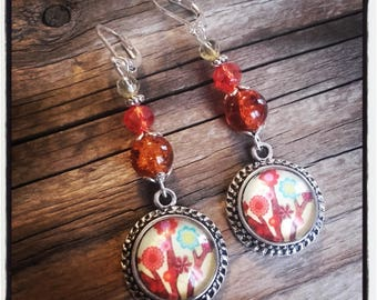 Cabochon dangle, Pearl Earrings / red and yellow