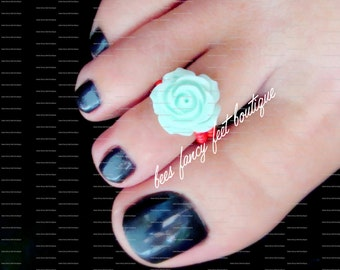 Rose Toe Ring, Rose Ring, Mint Green Rose Embellishment, Red Beads, Toe Ring, Ring, Stretch Bead Toe Ring