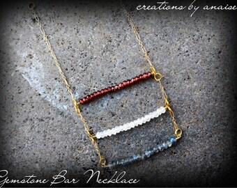 Gemstone Bar Necklace, Garnet, Moonstone & Labradorite Gold Bib, New Age, Bohemian, Birthstone