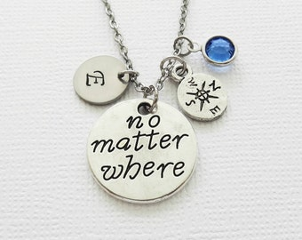 No Matter Where Necklace, Compass, BFF, Best Friend Gift, Swarovski Birthstone, Silver Initial Jewelry, Personalized Monogram, Hand Stamped