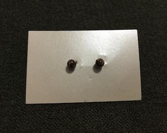 Jasper 4mm Round Post Earrings