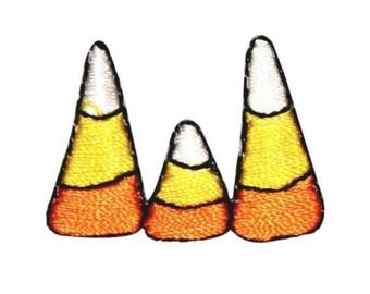 ID 0855A Candy Corn Trio Patch Halloween Treat Embroidered Iron On Applique