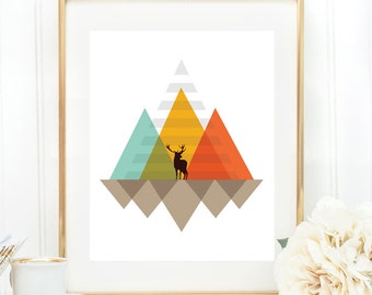 Minimalist abstract art, Mountains print, Geometric print, Scandinavian print, Mid century modern wall art, Abstract art, Home décor