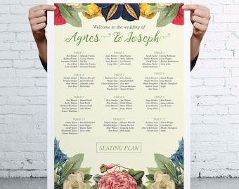Botanical Floral themed Wedding Seating Table Plan  - Vintage Retro Style