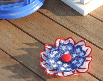 4th of July embroidery, FSL flower design, Memorial Day Flower embroidery design, In the Hoop Flower, Freedom day embroidery design