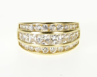 14k Channel Graduated Round Cubic Zirconia Encrusted Ring Gold