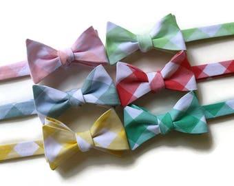 Bow Tie~Gingham Bow Tie~Mens Self Tie Bow Tie~Cotton Tie~Coral Tie~Bow Tie~Preppy Gift~Groom~Groomsmen~Seafoam~Yellow~Pink~Coral~Green~Fog