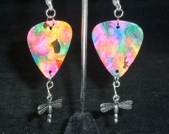 Earrings, dangle, rainbow guitar pick with silver dragonfly charm