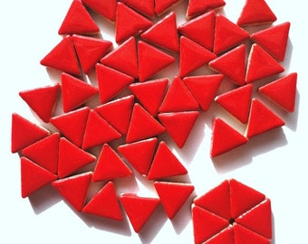 15mm Cherry Red Glazed Ceramic Triangle Mosaic Tiles//Mosaic Pieces//Mosaic Supplies//Crafts