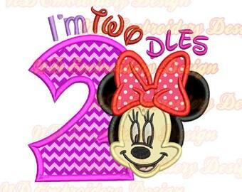Ich bin TWODLES Minnie Maus Gesicht Applikation 2. Geburtstag Stickmuster, ms-139