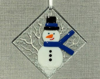 Snowman with Blue Scarf Ornament