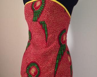 African print cotton beach top